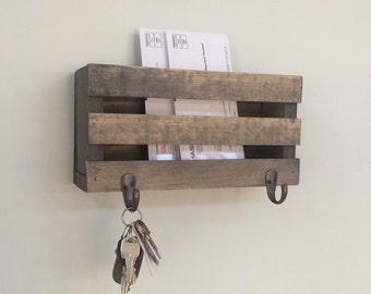 mail holder letter holder mailbox wood mailbox key hooks rustic letters magazines reclaimed wood letter holder keys home decor