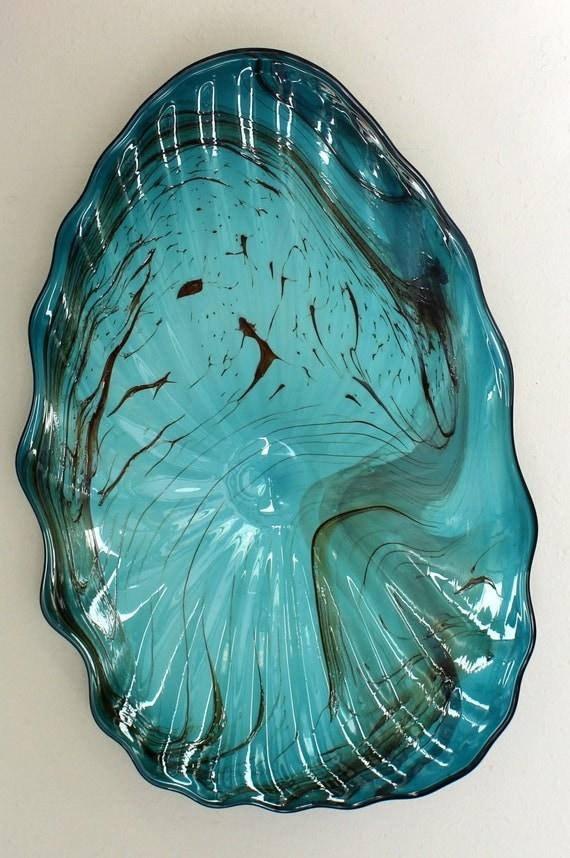beautiful hand blown glass art wall platter bowl marble 6561. Black Bedroom Furniture Sets. Home Design Ideas