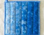 Shades of Blue Ombre Potholder, Hand Dyed Blue Potholder, Mug Rug, Hot Pad
