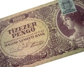 Hungarian History 1945 Banknote - Republic Hungary Hungarian 10000 Tizezer Pengo Tildy Stamp - Lasted 20 Years 1927 to 1946