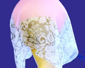 Vintage 1930s Pink Silk Chiffon Square Scarf with Floral Lace Print in Cream and Black Hand Rolled