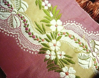 Vintage Silk French Floral Brocade Woven Upholstery Ribbon Trim by the Yard - Antique Silk Home Decor Ribbon Trim