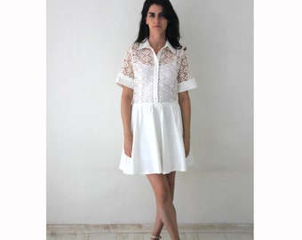 Short white Lace dress / buttoned shirtdress / Short wedding dress / bachelorette party dress  - 50% Off - On sale