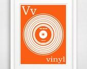 V is For Vinyl, Instant Printable, Instant Download, Alphabet Art, Orange Nursery Decor, Baby Wall Art, Music Print