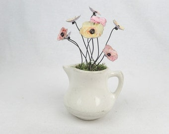 Petite Vintage Cream Pitcher Filled With Forever Blooming Flowers in Pink and Yellow