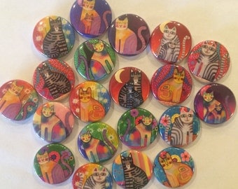 "colorful cat themed set of 20 1"" or 1.25"" buttons.  chose from pin, flat, hollow or magnet back"