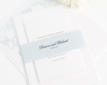 Preppy Wedding Invitation - Monogram, Light Blue, Ice Blue, Floral - Classic Wedding Invite -  Timeless Monogram Wedding Invitation