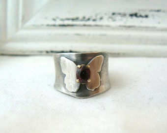 Butterfly - Oxidized Sterling silver, 14k Yellow Gold and RAspberry Spinel Ring - SIZE 6.5 - READY to SHIP