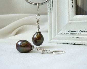 Unique Pair of Sterling silver Earrings with Huge Drops of Freshwater Pearls - Jewelry 925