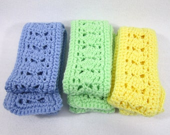 Three Pastel Thin Scarves, Crochet Neckwear in Yellow, Mint Green and Blue, Matching Scarves for Sisters, Gifts for Coworkers, Spring Wear
