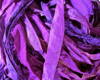 Electric Violet Recycled Sari Silk Thin Ribbon Yarn 5 - 40 Yards for Jewelry Weaving Spinning & Mixed Media