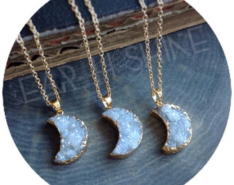 Druzy Moon necklace, gemstone, gold tone, electroplated, crystal necklace