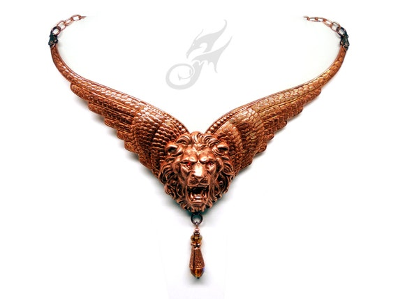 WINGED LION Statement Necklace Victorian Gothic Steampunk Fantasy Cosplay LARP Narnia Flion Manticore Leo Aslan Copper Plated Brass N0630