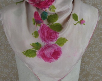 Light Pink Silk Scarf Pink Rose Floral AS IS