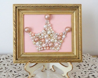 Pink and Gold Nursery Art - Princess Crown - Mosaic wall art - Pastel pink - Wood Gold frame - Girls room - Glitter picture - 3d Wall Art