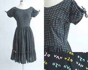Vintage 50s Dress | 1950s Cotton Dress | Jonathan Logan Black Novelty Print Cotton Full Skirt Dress