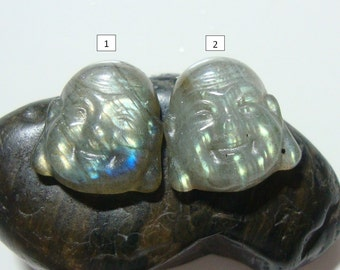Labradorite Fiery Green Gold Flashy Buddha Head Cabochon, Hand Crafted, Kindest Smile Buddha, AAA, 12x13mm, n21-9