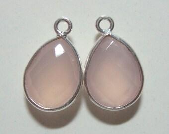 1 pc, 16x10mm, Tear Drop Bezel Pink Chalcedony Sterling Silver Charm Pendant