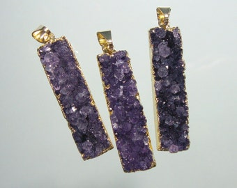 Bulk 10 pcs, 45% sale, TerraFinds Design, Bar Pendant, Amethyst Drusy Druzy Bar Pendant, Drusy Gold Bar Pendant, M5