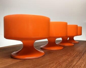 Mod 1970s Glass Dessert Bowls - set of four
