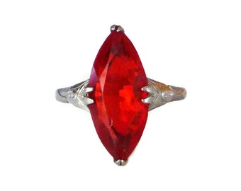 Art Deco Style Ring, Silver Plated, Red Glass, Marquise Cut, Promise Ring, Vintage Jewelry, Size 7.5