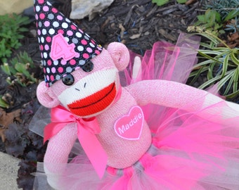 Personalized Girl Birthday Sock Monkey Doll, Personalized Heart, Tutu, Birthday Hat