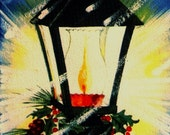 Vintage Christmas Card Lantern Lamp Ice Snow