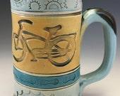 Bike, Cruiser, Sprocket, Chain, Handmade Mug,  Clay Bike Mug, Pottery Bike Coffee Mug, Unique Cruiser Tea Mug, Large handled Blue Mug