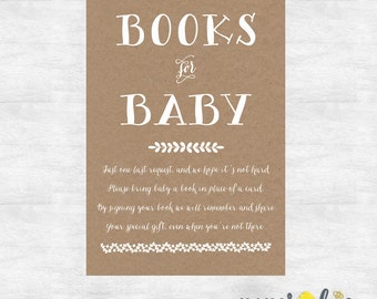 rustic books for baby insert  / baby shower game card / instant download