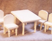 Schoenhut Dollhouse Table with Four Chairs, Wood, Three Quarter Inch Scale