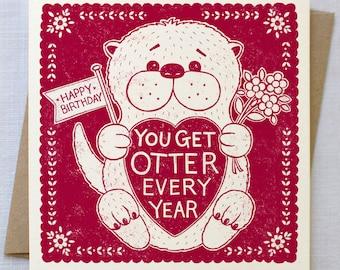 Funny Otter Birthday Card