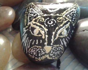 Cat Totem Painted Pebble