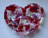 Fused Glass Bowl - Heart Fused Glass Dish, Bowl, Candleholder, Candy Dish, Soap Dish