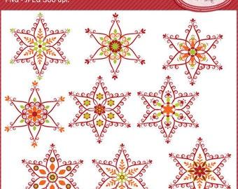 Snowflake clip art, folk snowflake clipart, nordic snowflake clipart, winter clipart, Christmas clipart, P339