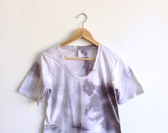 Gray Hand Dyed Tee Dress in Crystal Symmetry