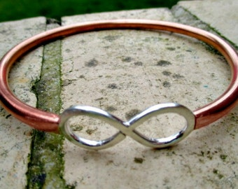 Bangle for Dad, Chunky Copper & Sterling Silver Bangle, Mens tjock koppar armband,reclaimed metal bangle cuff,