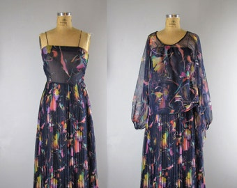 1970s Vintage Dress l 70s Navy Blue Chiffon Maxi Dress with Sheer Topper