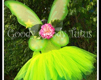 PIXIE DUST Tinkerbell Inspired Tutu Dress with Wings and Wand