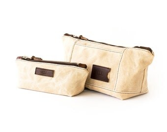 NO. 317 & NO. 275 Cosmetic Bag Set in Natural Ivory Waxed Canvas, Horween Leather, Personalized Toiletry Travel Bags, Mother's Day Gift