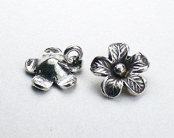 Fine Silver Flower Charms Karen Hill Tribe Charm 11.7mm 2 pcs. HT-229