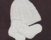 Hand knit baby hat and booty set in white Cashmere