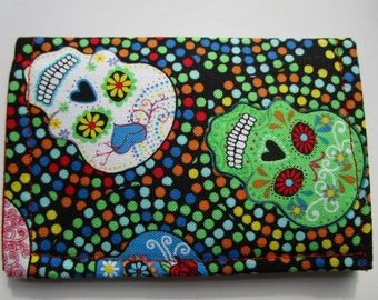 Sugar Skulls Fabric Wallet, Credit Card Wallet, Grateful Dead, Calaveras, Day of the Dead, Business Card Holder, Small Wallet, Gift Card