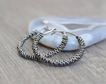 Textured Sterling Silver Hoops