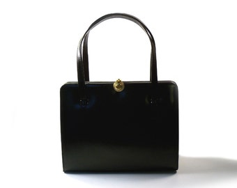 Vintage 1950's Black Leather Lady Audley Purse KELLY BAG Made in London, England