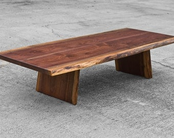 Live Edge Coffee Table -Meditation Bench - Asian Inspired - Live edge Walnut - Occassional table - Walnut Coffee Table