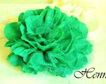 1 LIME / PANDAN GREEN  Large Shabby Chic Frayed Wrinkled Cotton Voile and Tulle Rose Fabric Flower