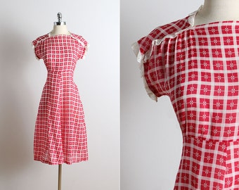 Vintage 30s dress | vintage 1930s dress | red plaid cotton s/m | 5746