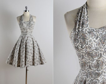 Vintage 50s dress | vintage 1950s dress | paisley cotton halter dress xs/s | 5733