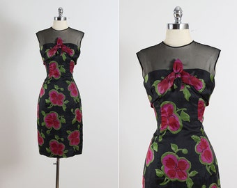 Bold Blooms . vintage 1950s dress . vintage cocktail dress . 5521
