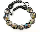 Glass bead necklace . Multicolor necklace . Black glass necklace . Artisan designer lampwork bead neckpiece